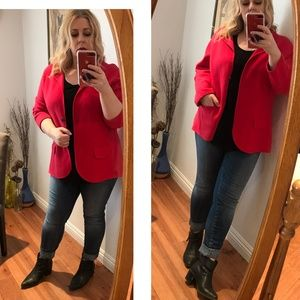 Lands' End red Blazer jacket Baumwolle Knit cardi